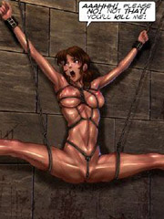 Hot bound and gagballed chicks get caned cruelly before hard fucking in dirty bdsm porn comics