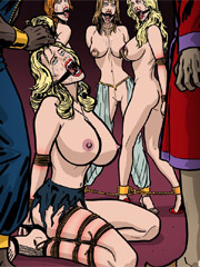 Fantastic, sexy mistresses dominating on male and female slaves art pictures