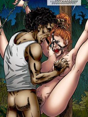 Hot chicks get seized by kinky gangsters, encaged and tortured with various bdsm tools in awesome bdsm porn toon