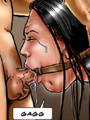 Captured and roped slave chick forced to satisfy dirty sexual fantasies of their masters.